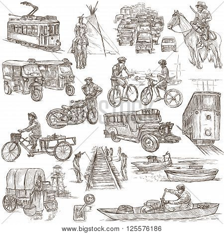 TRANSPORT. Collection of an hand drawn illustrations. Description Full sized hand drawn illustrations - freehand sketches. Drawings on white background.