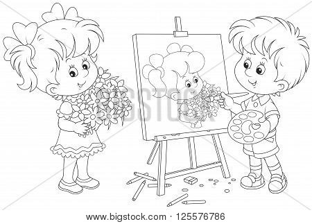 Black and white vector illustration of a boy drawing a portrait of a girl with flowers