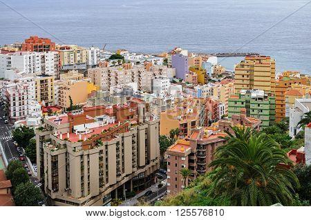 View of the colorful city of Santa Cruz located on the Atlantic coast of the island of La Palma, Spain
