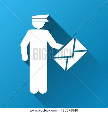 Postman vector toolbar icon for software design. Style is a white symbol on a square blue background with gradient long shadow.