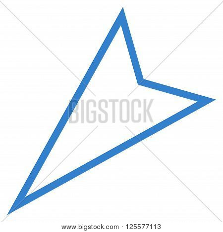 Pointer Left Down vector icon. Style is thin line icon symbol, cobalt color, white background.