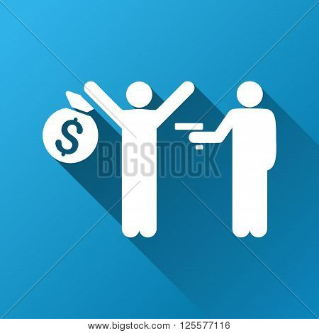 Robbery vector toolbar icon for software design. Style is a white symbol on a square blue background with gradient long shadow.