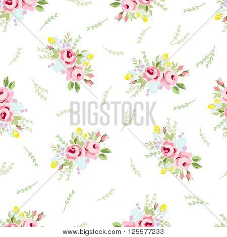 Seamless floral pattern with little red roses on black background