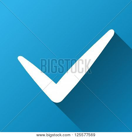 Valid vector toolbar icon for software design. Style is a white symbol on a square blue background with gradient long shadow.