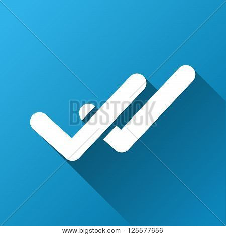 Validation vector toolbar icon for software design. Style is a white symbol on a square blue background with gradient long shadow.