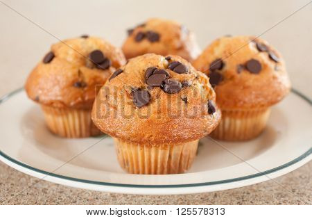 Muffins on plate with selective focus on nearest muffin.