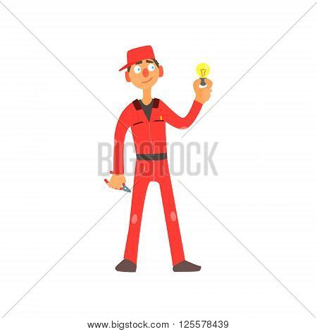 Profession Electrician Primitive Cartoon Style Isolated Flat Vector Illustration On White Background