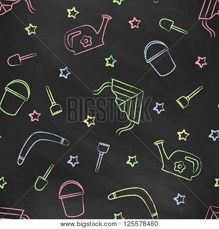 Seamless pattern black chalk board with color children's chalk drawings. Hand-drawn style. Seamless vector wallpaper with the image of kite flying, head, boomerang, star, bucket, shovel, rake