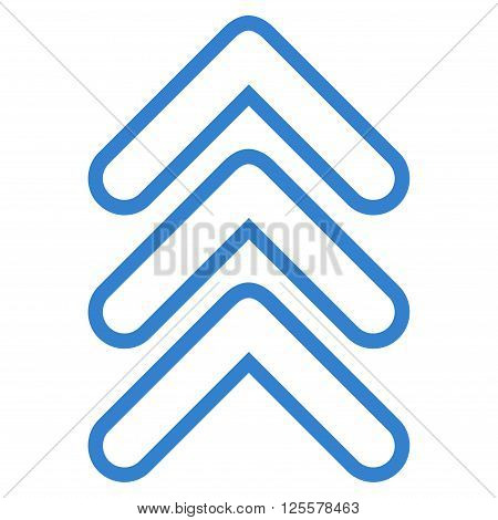 Triple Pointer Up vector icon. Style is contour icon symbol, cobalt color, white background.
