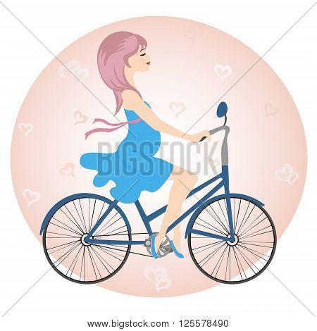 Pregnant girl in blue dress rides a Bicycle on a background of hearts. Vector illustration.