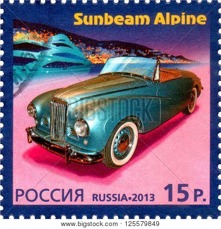 RUSSIA - CIRCA 2013: A stamp printed in Russia shows Sunbeam Alpine history of Automobile Production a Joint Issue of Russia and Monaco circa 2013. ** Note: Soft Focus at 100%, best at smaller sizes