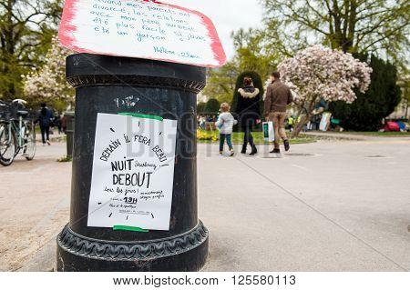 'nuit Debout' Or 'standing Night' In Place De La Republique