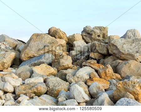 Large Stones On The Stone Beach In The Background