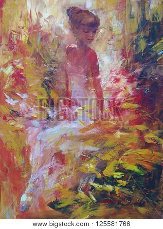 lovely woman handmade oil painting on canvas