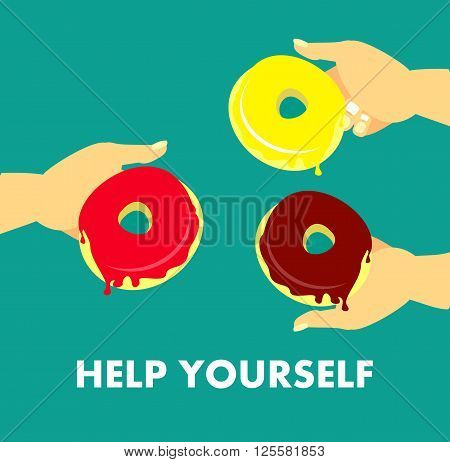 vector illustration human hand offer different donuts