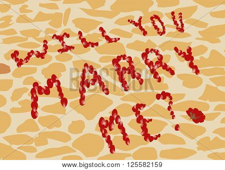 Proposal to marry on the background of street tiles. Text will You marry me? of rose petals.  All objects are grouped. Vector.