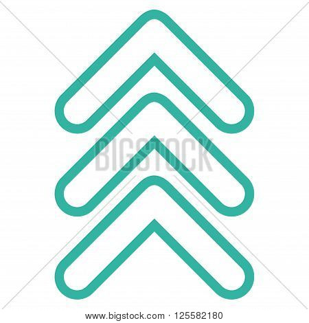 Triple Pointer Up vector icon. Style is contour icon symbol, cyan color, white background.