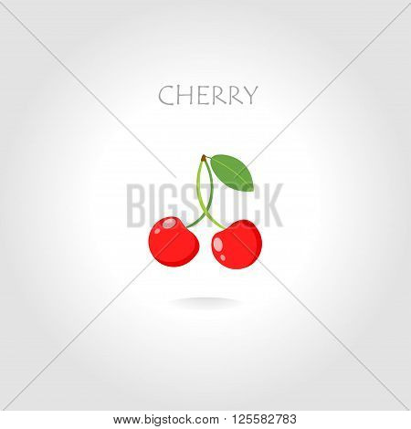 fresh cherry vector illustration with text tittle with sun abstract