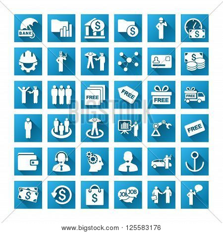Business vector toolbar icons for software design. Style is white symbols on a square blue background with gradient long shadow. Amount is 42 icons.