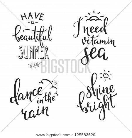 Summer travel vector lettering typography set. Calligraphy summer postcard or poster graphic design lettering element. Hand written calligraphy style summer postcard. Vitamin sea. Beautiful summer.