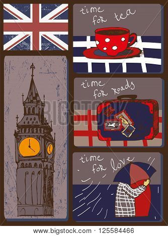 Set of buttons contains images of Big Ben,flag,couple under umbrella,cup of tea and text. Cartoon style.