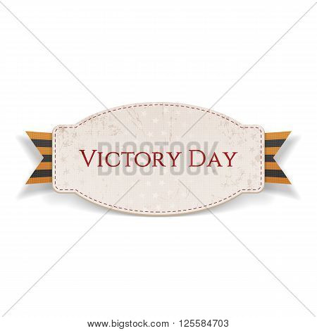 Victory Day. Paper Banner with striped st. George Ribbon isolated on white Background. Vector Illustration