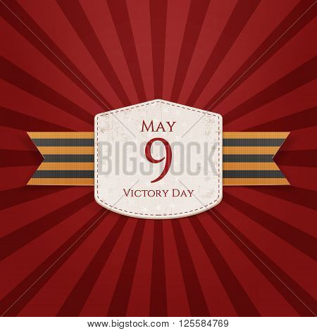 Victory Day. May 9 paper Emblem with st. George festive Ribbon on striped red Background. Vector Illustration
