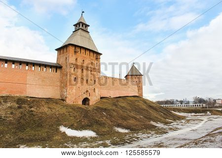 Velikiy Novgorod, Russia - 12 March, The earth wall in front of the Kremlin walls, 12 March, 2016 Types of towers and walls of Kremlin in Veliky Novgorod.