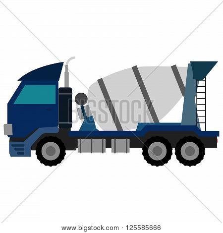 Vector Blue Concrete Mixer Truck. Flat style vector icons.