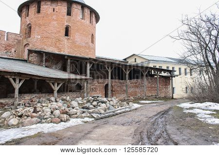 Velikiy Novgorod, Russia - 12 March, The site of the Kremlin in the restoration, 12 March, 2016 Types of towers and walls of Kremlin in Veliky Novgorod.