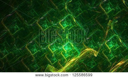 Electric Lightning. Powerful green protective field. Mysterious psychedelic relaxation wallpaper. Sacred geometry. Fractal abstract Wallpaper pattern desktop. Digital artwork creative graphic design.