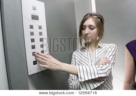 Teenage girl in elevator
