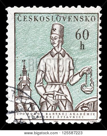 CZECHOSLOVAKIA - CIRCA 1964 : Cancelled postage stamp printed by Czechoslovakia, that shows Miner.