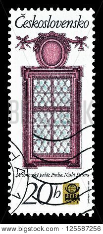 CZECHOSLOVAKIA - CIRCA 1977 : Cancelled postage stamp printed by Czechoslovakia, that shows window at Michna palace.