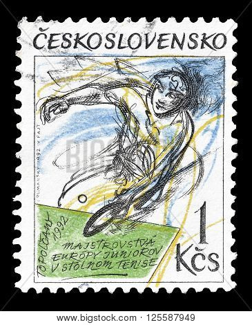CZECHOSLOVAKIA - CIRCA 1992 : Cancelled postage stamp printed by Czechoslovakia, that shows table tennis player.