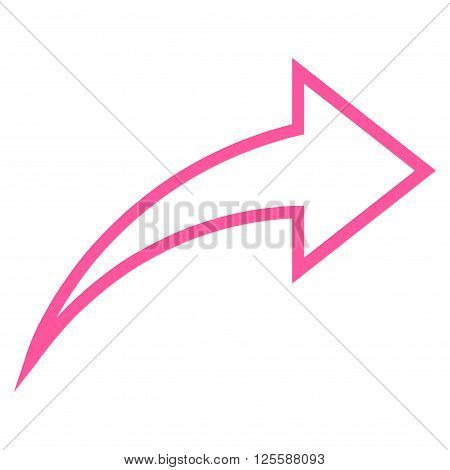 Redo vector icon. Style is contour icon symbol, pink color, white background.
