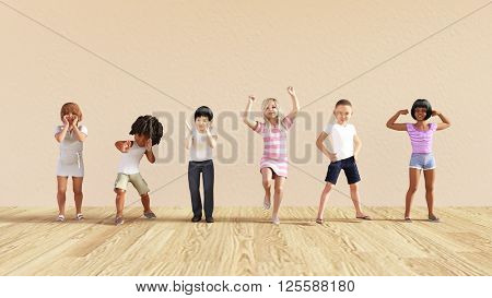 Happy Children in a Day Care or Daycare Center 3D Illustration Render