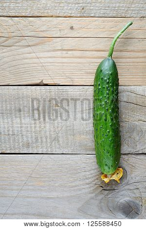 Cucumber on old wooden background top view