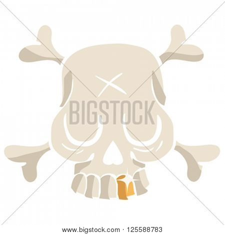 cute skull with golden tooth cartoon