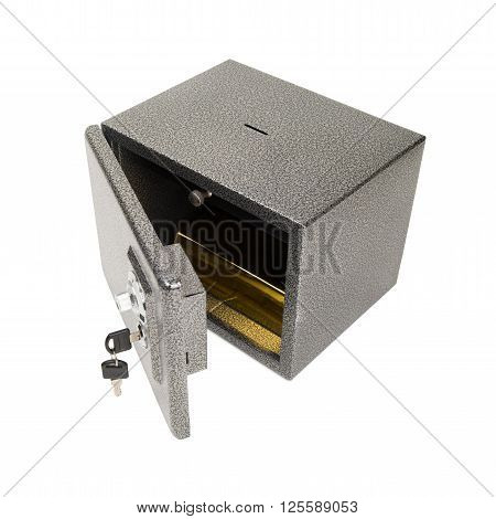 Opened safe with golden piece inside. Keeping the finances, money, gold safe concept. Isolated on white.