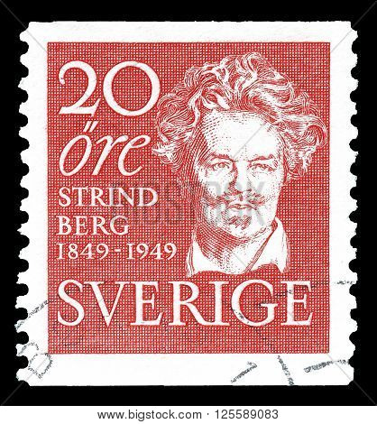 SWEDEN - CIRCA 1949 : Cancelled postage stamp printed by Sweden, that shows August Strindberg.