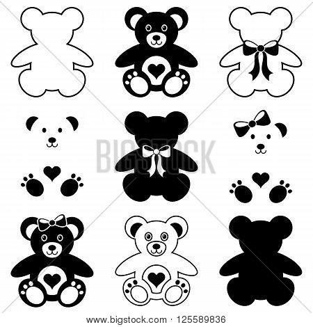 Black vector cute teddy bears icons collection