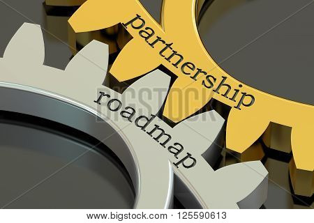 Partnership Roadmap concept on the gearwheels 3D rendering
