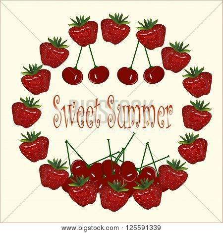 Typography banner Sweet Summer. Strawberries chaplet, cherries on light background. Painting, vector