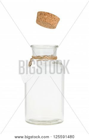 Cork pop out from bottle with label. Isolated on white.