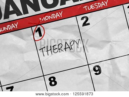 Concept image of a Calendar with the text: Therapy