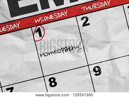 Concept image of a Calendar with the text: Homeopathy