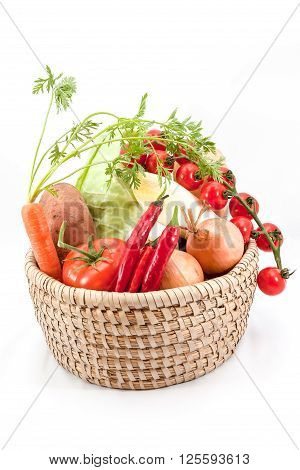 different vegetables such as carrots tomatoes peppers chicory garlic
