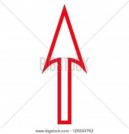 Sharp Arrow Up vector icon. Style is contour icon symbol, red color, white background.