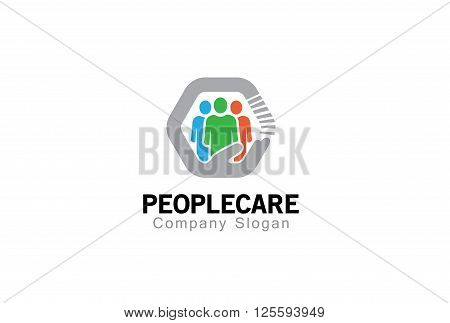 People Care Creative And Symbolic Logo Design Illustration